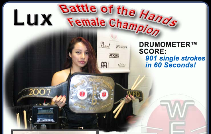 Miss WFD Competiton Champion: Lux - luxdrummer.com